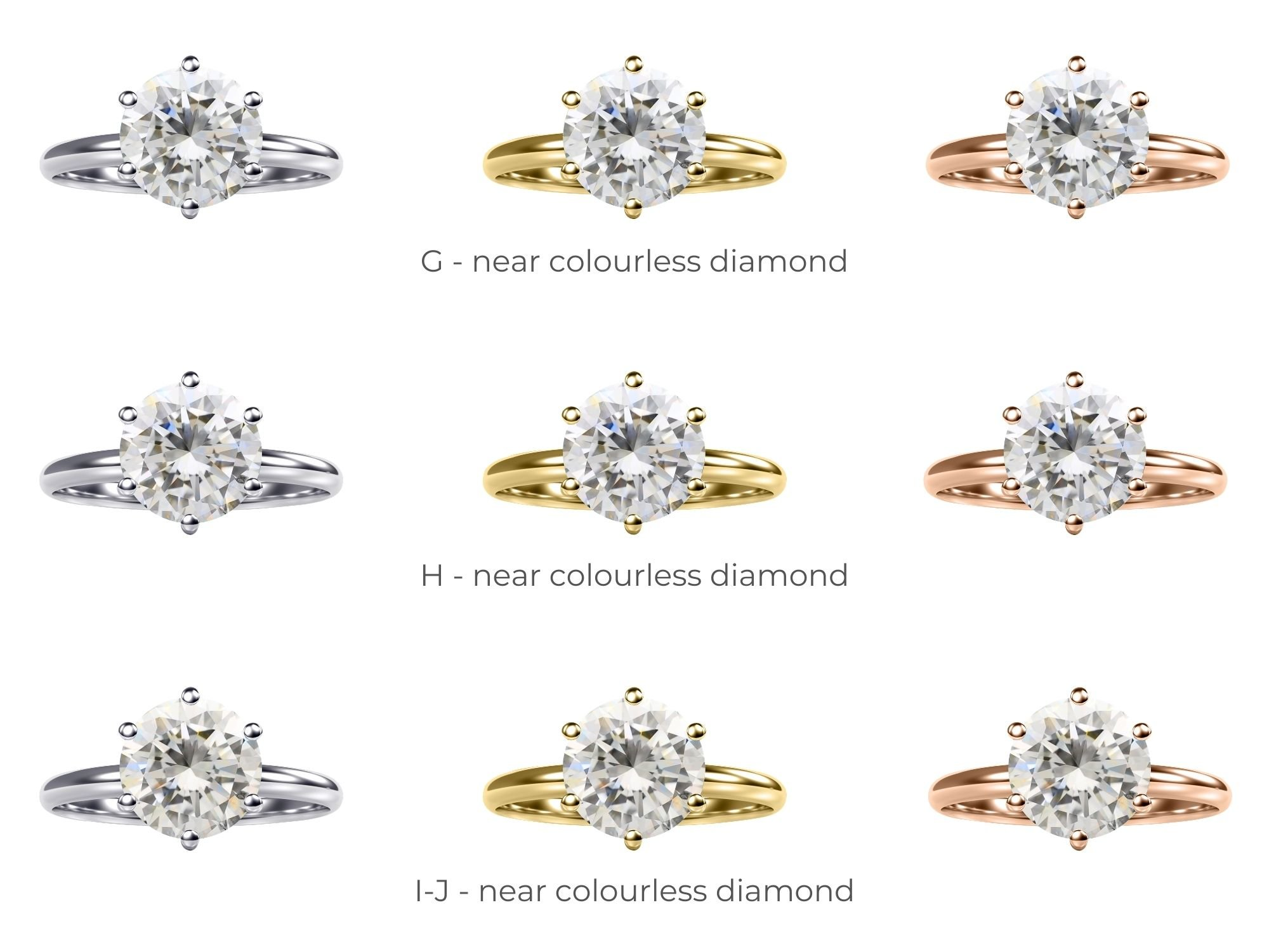 Near Colourless Diamonds In Different Metals   Diamond Buzz